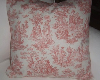 Accent Pillow -Pink Toile Pillow Cover