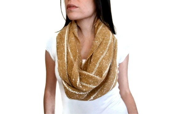 Infinity scarf - handwoven, beige and gold tweed and alpaca