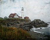 Lighthouse Photography, Portland Head Lighthouse Photos, Muted colors decor, Painterly Cottage Chic, Maine, 5x7, 8x10 Home Office Decor