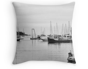 "Fishing Boats Pillow Cover, Photo Pillow Cover, 16"" 18"" 20"" Square Throw Pillow, Nautical Home Decor, Black and White Throw Pillow Cover"