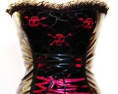Skull Pirate Lace Pvc Gothic Goth Corset Top Custom Made Unique FREE SHIPPING