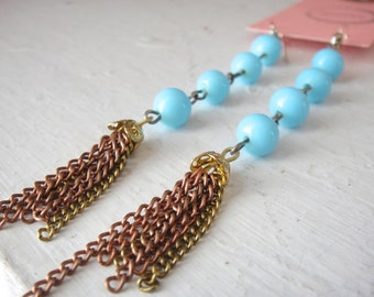 Earrings of Vintage Blue Glass Bead Chain from Japan with Mixed Metal Chain Fringe in Brass and Copper, Long, Dangle, Chandelier
