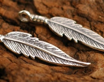 TWO Feather Charms in Sterling Silver, AD36