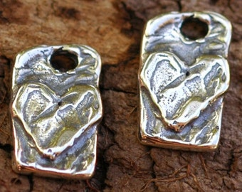Two Heart on a Tab Charms in Sterling Silver, CH-83