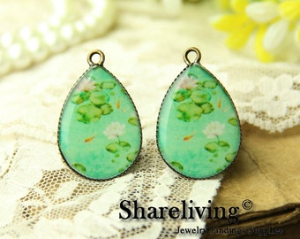 4pcs 18x25mm Handmade Photo Teardrop Resin Charm / Glass Cabs Cabochons -- RP700D