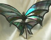 Flying Dragon Suncatcher in Clear Iridescent Black Baroque Stained Glass