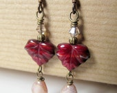 Leaves - Maroon Czech Glass Leaf and Crystal Niobium Earrings