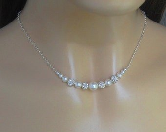 Bridal Pearl Necklace, Pearl and Crystal Necklace, Rhinestone Fireball and Pearl Necklace - Bridal Jewelry, Wedding Jewelry by JaniceMarie
