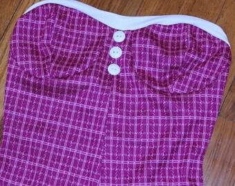 pink plaid pin up retro romper