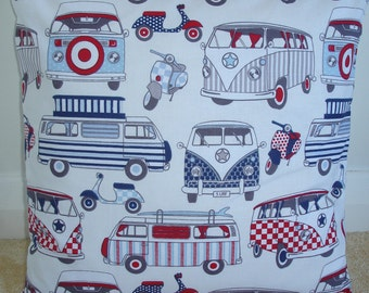 """18x18 Pillow Cover VW Campervan and Scooter 18"""" Cushion Sham Accent Case Slip Pillowcase Scooters Campervans Camper Van Hippy Funky Retro"""