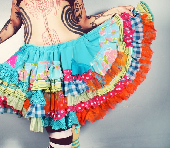 Ruffle Skirt. colorful skirt. full skirt. Gothic Lolita skirt. fairy costume skirt. festival skirt. Circle Skirt