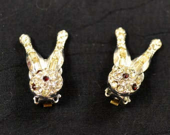 Vintage Rhinestone Bowling Pin Clip on Earrings