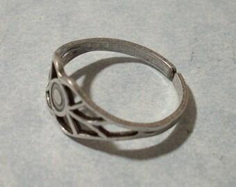 Adjustable Filigree Ring Silver Plated Brass