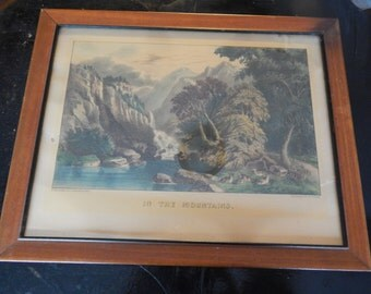 Antique Currier & Ives Framed Print - In The Mountains