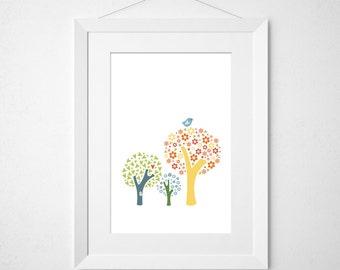 flowery tree tops  - nursery art print