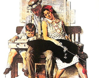 """1978 Norman Rockwell Book Plate """"Home From Vacation"""""""