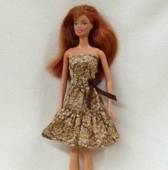 Barbie Doll Dress in Beige and brown floral with ruffled skirt