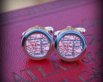 Dallas Vintage Map Cuff Links - Great Gift