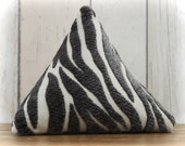 Fabric Doorstop, Doorstopper in Charcoal Zebra Striped Fabric, Triangular, Pyramid Shape