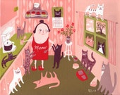 Cat Lady in Kitchen Art Print - Whimsical and Funny Folk Artwork -Pink and Green