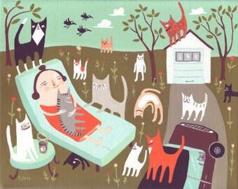 Funny Cat Art Print - Cat Lady Enjoys Spring - Whimsical Folk Artwork