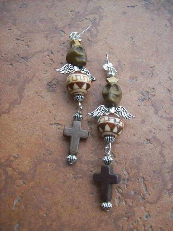 RESERVED Listing for Megan A Skull and a Cross Earrings and Matching Bracelet