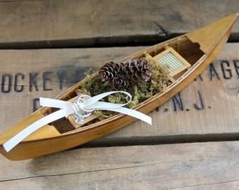 Canoe Ring Bearer Pillow-Canoe Wedding-Fishing Ring Bearer Pillow-Canoe-Lake Wedding-Adirondack Wedding-Northwoods Wedding