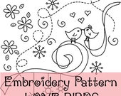 Love birds Valentine's day Embroidery pattern - PDF download - Love Birds hand embroidery pattern design - best selling craft pattern