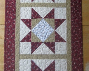 Star Table Runner, red, tan and beige, gift