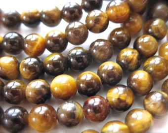 Tiger Eye rounds - natural semiprecious gemstone beads - 4mm - 24 beads