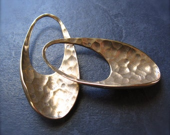 Bronze Hammered Eclipse Pair  - earring findings - 38mm X 20mm
