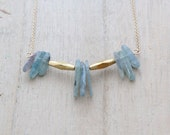 Kyanite Gold Necklace, Blue Gemstone Stick Bib Style in 14k Gold Filled, Abstract Fashion