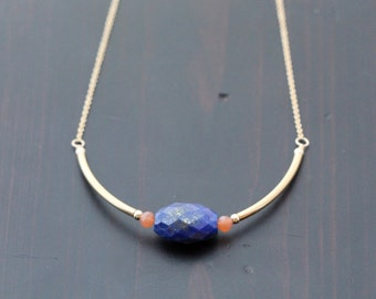 Lapis Lazuli Gold Necklace, Geometric Gemstone Jewelry, Abstract Tribal Art Deco, 14k Gold Filled - Deco