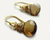 Tidal Earrings with Whisky Topaz Wire Wrapped with Gold Fall Fashion