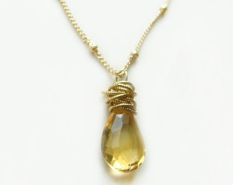 Tidal Necklace with Citrine Gold Textured Circles Summer Fashion