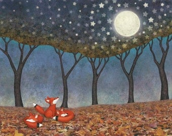 sleepy foxes - illustration art print 8X10 inches, fox fall autumn story scene blue orange stars moon whimsical nature picture