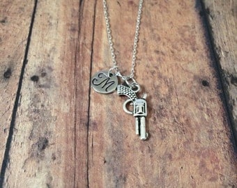 Gun initial necklace - gun jewelry, revolver necklace, pistol necklace, cowboy jewelry, handgun jewelry, silver gun necklace