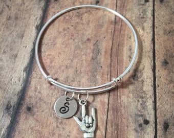 ASL 'I love you' charm bracelet - I love you bracelet, sign language bracelet, ASL bangle, sign language jewelry, ILY bracelet