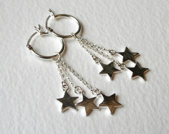 Silver Star Hoop Dangle Earrings Star Light Star Bright Wish Upon A Star
