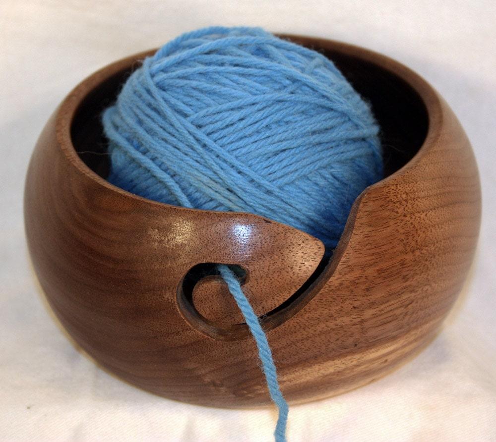 Knitting Bowls Wood : Handmade black walnut wooden yarn bowl