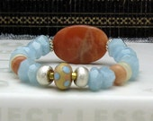 RES for M - (2) Luxe Aquamarine and Sunstone Modern Beaded Bracelet, Boutique Wearable Art, Gemstone Lampwork Bracelet, for Her Under 350