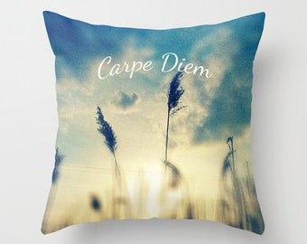 Decorative photo pillow - typography- Carpe Diem- nature photo- blue- yellow- sunset- inspirational- home decor
