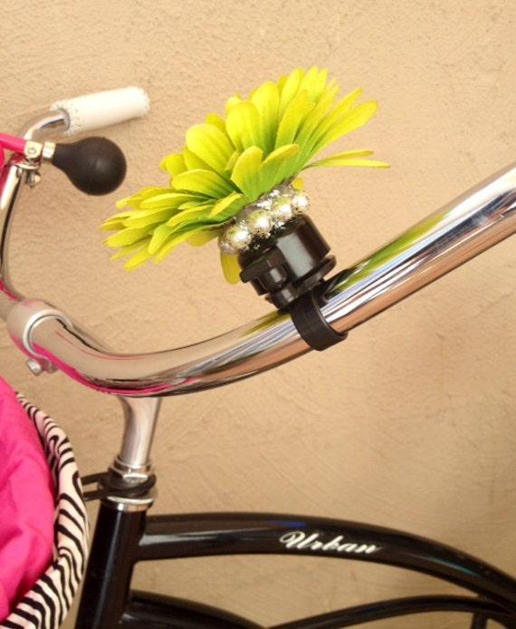 Bling Bike Handlebar Flower, Beach Cruiser Accessory, Bike Flower, Bicycyle Bell