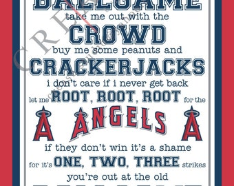 "Los Angeles Angels of Anaheim, 'take me out to the ballgame"" 8""x10"" printable, instant download"