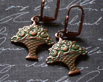 Flower Earrings, Rose Earrings, Patina Earrings, Green Earrings, Floral Jewelry, Verdigris Copper, Bouquet of Roses Earrings, SRAJD