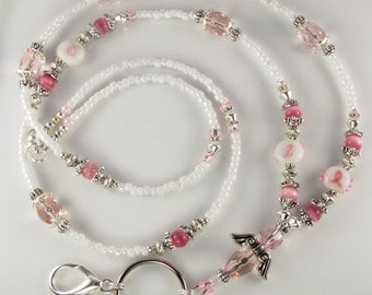 Beaded Lanyard HOPE Angel ID Badge Holder - Breast Cancer Awareness