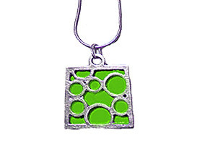 Medium Square Lime Bubble pendant
