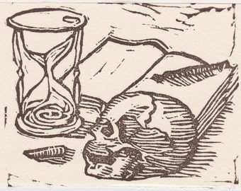 TIME: ACEO an Original Hand Pulled Linocut Print