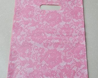 24Pcs Beautiful Lace Print Gift bags 10x  13inch (25cm x 32cm)--Pink