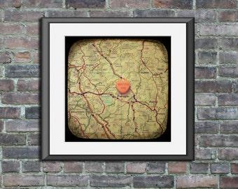 Map art print - marry me Perugia Italy Italia  - candy heart custom engagement wedding anniversary gift wall decor